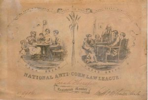 Membership certificate for the Anti Corn Law League.