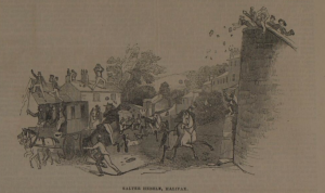 The scene at Salter Hebble, Halifaxe. From the Illustrated London News, 27 August 1842.
