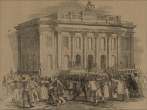 Reading the Riot Act at Manchester Town Hall. Illustrated London News, 20 August 1842.