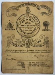 National Charter Association membership card, 1842