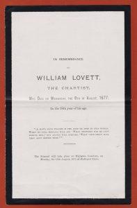Death notice for William Lovett